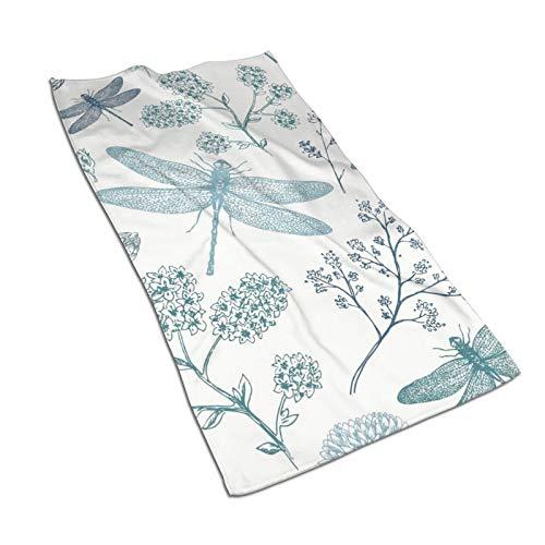 Toallas de mano Antvinoler, azul libélula helecho botánico toallas de cocina de microfibra Terry para secar platos y derrames, toallas de plato para la decoración de tu cocina, 69,8 x 39,9 cm