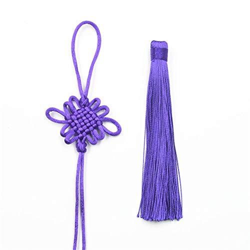 Gouen 5 stks veel rayon zijde kwastje chinese knoop katoen sleutel kwasten voor auto opknoping hanger tas ornamenten handgemaakte sieraden, blauw paars