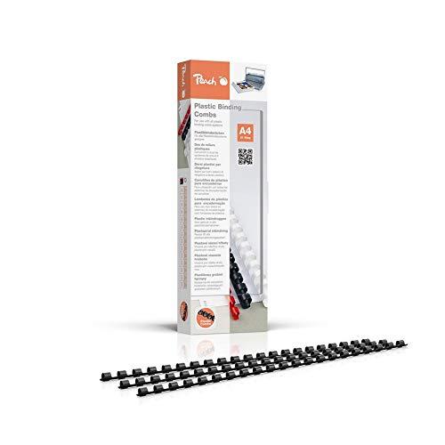 Peach PB406-02 Plastikbinderücken DIN A4, 6 mm, 25 Blatt, 100 Stück, schwarz