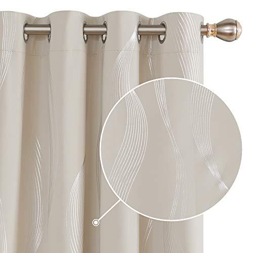 Deconovo Cortinas Salon Modernas Aislantes Térmicas de Líneas Onduladas con Ollados 2 Piezas 140 x 240 cm Beige Claro