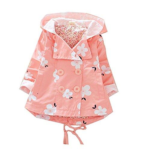 FAIRYRAIN Baby Mädchen Baumwolle Polka Dot Blumen Trenchcoat Windbreaker Nettes Kaninchen Frühling Trench Jacke Mantel Kleid Outwear mit Kapuze 12-18 Monate