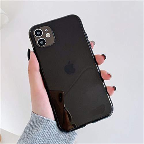 LIUYAWEI Funda de teléfono Transparente a Prueba de Golpes de Color Fluorescente para iPhone 11 Pro MAX XR X XS MAX 7 8 Plus SE 2020 Funda de TPU Suave, Negra, para iPhone XS MAX