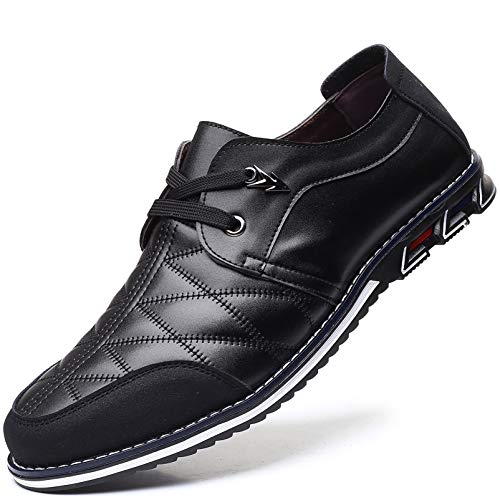 COSIDRAM Men Casual Shoes Sneakers Loafers Breathable Comfort Walking Shoes Fashion Driving Shoes Luxury PU Leather Shoes for Male Business Work Office Dress Outdoor Black 11