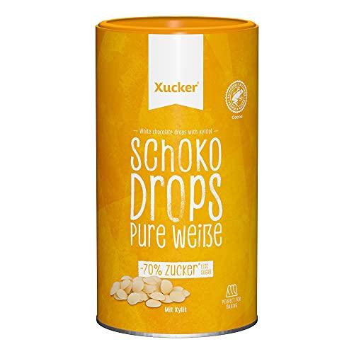 Xucker Schoko Drops weiße Schokolade - Xucker Schokolade mit Xylit Zuckerersatz I Weiße Xucker Chocolate Drops I Zuckerreduzierte Süßigkeiten zum Backen (min. 35% Kakaoanteil / 750g)