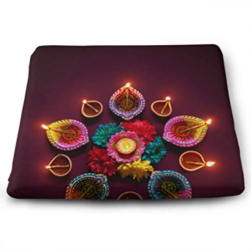 Romantic Flash Festival Diwali Candle KitchenSeatCushions MemoryFoamChairPadsForDiningChairs 15 X 13.8 Inch Removable Washable Anti-dust PaddedOfficeChairCushion For Office, Kitchen,home