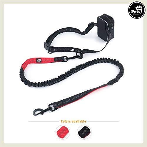 Pets&Partner® Hunde Joggingleine/Trainingsleine/Handfreieleine mit Tasche farblich passend zu Halsband und Geschirr, Schwarz