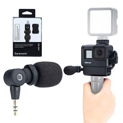 ULANZI Configuración de Vlog para GoPro Saramonic SR-XM1 Micrófono inalámbrico de grabación de Video de 3.5 mm + Carcasa de protección Marco para cámaras GoPro Hero 7 6 5 Action