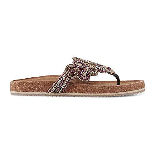 Flare & Brugg Damen Ethno-Zehentrenner für aus Leder, Pantoletten in Braun mit Perlen-Stickereien und vorgeformtem Fußbett Braun Leder 37