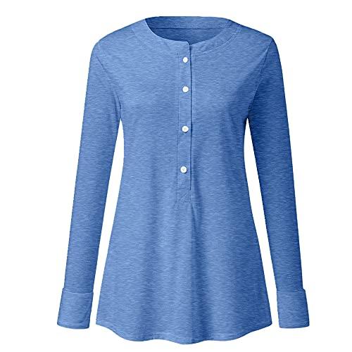 N\P Camiseta de manga larga con cuello en V y botón de color sólido
