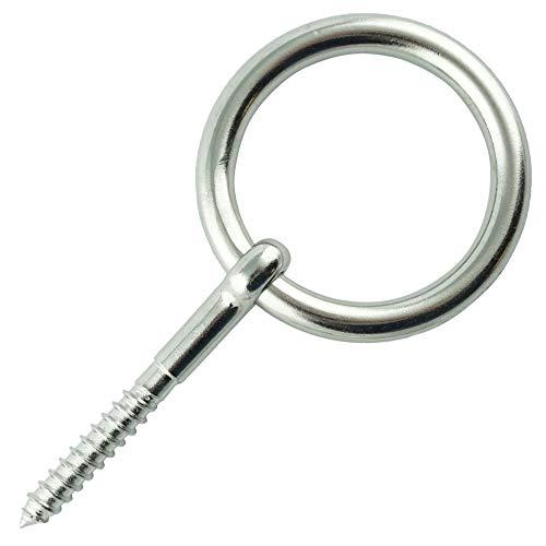 Eisenwaren2000 | 8 mm Holzschraube mit Ring (1 Stück) - Ösenschrauben mit Holzgewinde - Ringschraube - Edelstahl A4 V4A - rostfrei