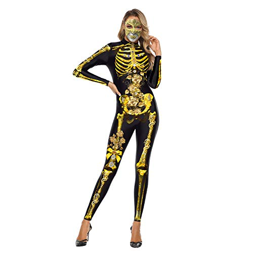 eBoutik – Gruseliges Halloween-Party-Kostüm, Einteiler, Gruseliger Jumpsuit Skelett-Bodysuit Gr. 36, Golden Skeleton