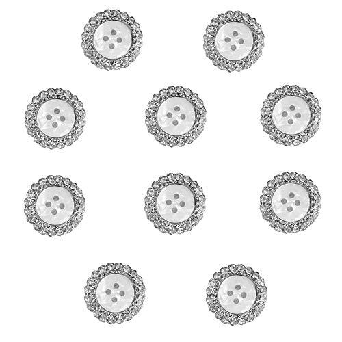 Botón Diamantes Imitación metal Botones Decorativos de Diamantes de Imitación Botones Redondos de Diamantes de Imitación Botones Femeninos de Bricolaje para Botones de Decoración de Bodas 10 piezas