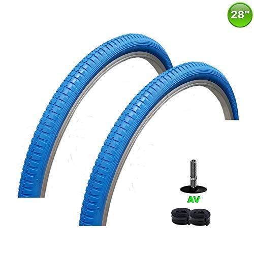 maxxi4you 2 x Fahrradreifen Mantel Decke 28 x 1.75-47-622 Blau + 2 Schläuche AV