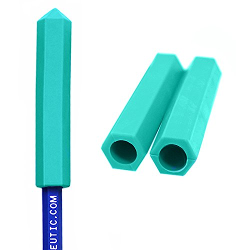 ARK's Krypto-Bite Pencil Topper Chewable Tubes - Made in The USA (3 Pack of Xtra Tough for Moderate Chewing, Teal)
