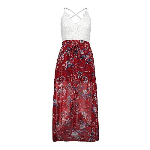 YAONING jurk, kant, met print-hanger V-aanzetfeestdag strandjurk genaaid, zomeropen chiffonjurk aan de achterkant van de vrouw Large H