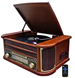 Nostalgie Holz Musikanlage | Bluetooth | Kassettendeck | Kompaktanlage | Retro Stereoanlage | Plattenspieler | Radio | CD MP3 Player USB | Fernbedienung | MP3-Encoding: Aufnahmefunktion AUX IN |