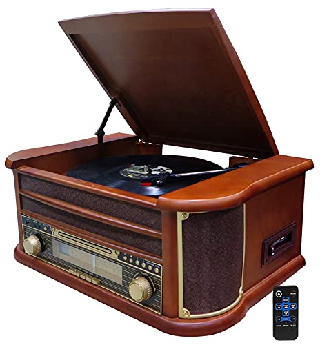Nostalgie Holz Musikanlage | Bluetooth | Kassettendeck | Kompaktanlage | Retro Stereoanlage | Plattenspieler | Radio | CD MP3 Player USB | Fernbedienung | MP3-Encoding: Aufnahmefunktion AUX IN |