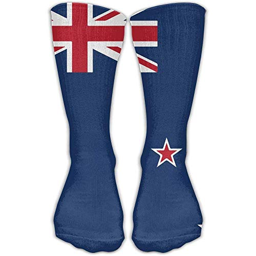 Nifdhkw Casual Adults Football Soccer Sport Stockings Flag of New Zealand Novelty Crew Ankle Dress Fits Shoe Girls High Long Socks
