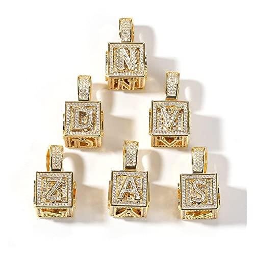 JIAH Collares con colgante cuadrado de 26 letras para hombre y mujer, diseño de hiphop, 26 letras (longitud: 60 cm), color de la piedra principal: plateado