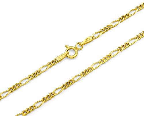 Figarokette 925 Sterling Silber vergoldet 2,3mm breit Länge wählbar 45 50 55 cm Silberkette Halskette Gold Kette Damen (45)