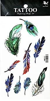 PP TATTOO 1 Sheet Peacock Feather Fashionable Henna Temporary Tattoos Make up Neck Shoulder Upper arm Thigh Waterproof Stickers for Men Women Sexy Body Art