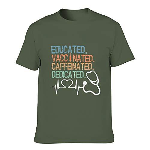 Lind88 Camiseta educada vacunada con cafeína dedicada camiseta para hombre, humor sarcasmo