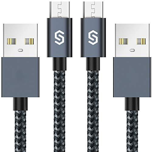 Syncwire Android Charger Micro USB Cable, [2-Pack 6.5ft/2M] Fast Micro USB Charger Nylon-Braided Android Charging Cable for Samsung Galaxy S7/S6, S7/S6 Edge, S4/S3/J3/J5/J7, Sony, Nexus, PS4, Tablets