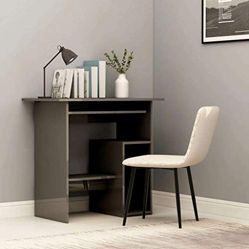 BJYX Desk 80cm Chipboard Bedroom Living Room Writing Table Multi Colours (Color : High Gloss Gray)