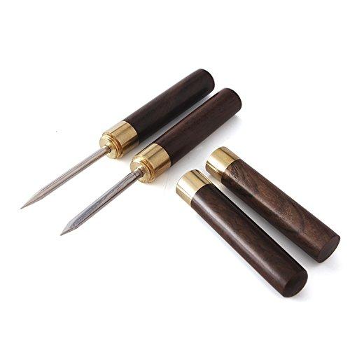 2pcs Portable Tea Tools Puer knife set tools needle cone puerh cake sandalwood puer knife(Tea Needle+Tea Knife) (Blackwood)