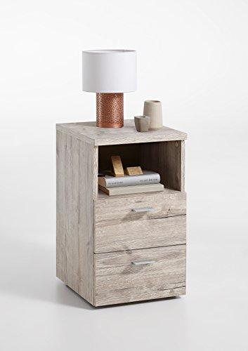 FMD furniture 652-001E, Nachtkonsole in Ausführung Sandeiche Nachbildung, Maße ca. 35 x 61,5 x 40 cm (BHT), Melaminharz beschichtete Spanplatte