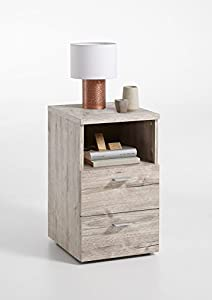 FMD furniture 652-001E - Mesilla de Noche (imitación de Roble Arenado, Dimensiones Aprox. 35 x 61,5 x 40 cm, Tablero aglomerado Revestido de Resina de melamina)