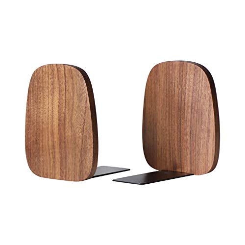 Muso Wood Bookends Support for Shelves,Decorative Book Ends for Heavy Books/Office Files/Magazine...