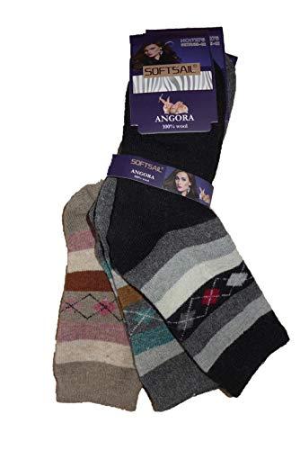 SOFTSAIL Damen Winter Angora Socken Strümpfe warm 3 Paar (Mod. 3, 39-42)