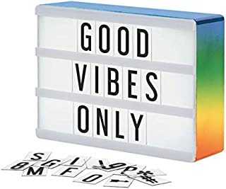 My Cinema Lightbox - The Mini Rainbow Color Changing Sign with 100 Letters and Symbols, 3 Modes- Pure White LED Light, RGB Color Change and Freeze, with Letter Storage, Battery or USB (A5 8x6 Rainbow)