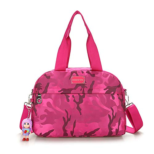 BSTLY Backpack Summer Bag Fashion Handbag Nylon Waterproof Large Capacity Diagonal Shoulder Bag Utility Backpack Dark Flower Rose Red