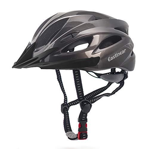 EASTINEAR Casco Bicicleta con Visera para Hombre Adulto Mujer Casco Bicicleta con Luz de Seguridad LED Cascos Ciclismo de Montaña y Carretera Tamano Ajustable M/L 22.8-24.4in (Ti)