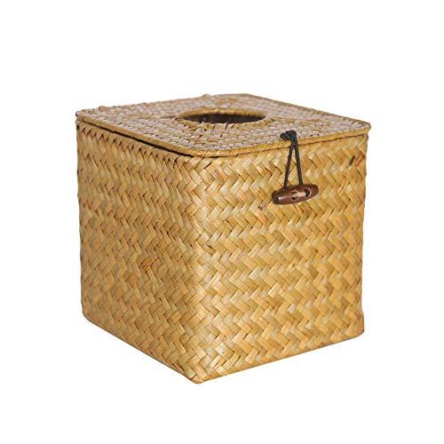 Caja de pañuelos de Estilo Vintage Caja de pañuelos de Mimbre Tejida de Paja Caja de pañuelos de Papel Servilletero Porta servilletas Organizador del hogar