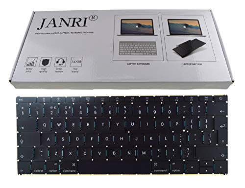 JANRI Replacement UK Layout Keyboard for Apple A1534 MacBook 12' inch MacBook9,1 MacBook10,1 Early 2016 2017 Year Black