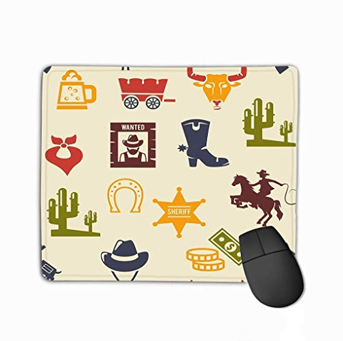 Mauspad Western Rodeo Hintergrundmuster Farbige Silhouette Icons Wagon Bull Cowboy Stetson Stiefel Krawatte Ideal Mousepad 25 * 30Cm