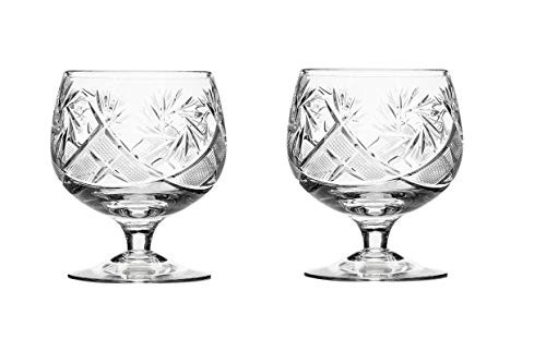 Set of 2 Russian Cut Crystal Brandy Snifter Glasses 11-oz, Old Fashioned Vintage Glassware (Brandy Snifter)