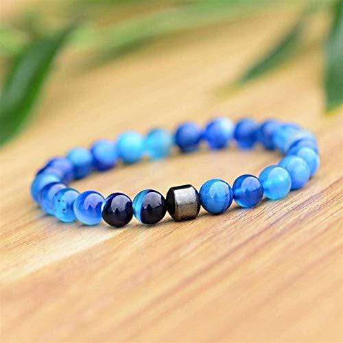 Pulsera de piedra Mujeres, 7 chakra perlas de piedra natural de cristal brazalete elástico azul afortunado abrazy brazalete de yoga equilibrio de moda Joyería para mujer para mujeres Regalo de cumplea