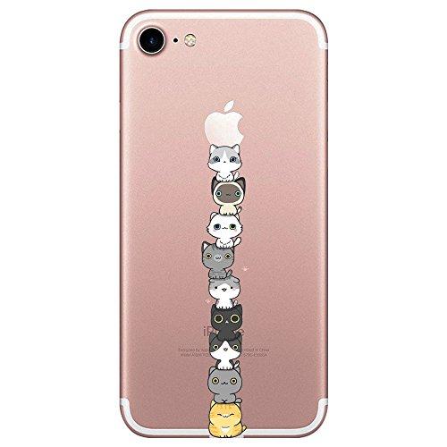 Oihxse Compatibile per iPhone 7/8 Custodia Silicone Trasparente Custodia Sottile e Anti-Graffio,Cristallo Cover Cute Cartoon per i Phone 8/7 (4.7) Anti Scivolo Morbido (Gatto,iPhone 7/8)