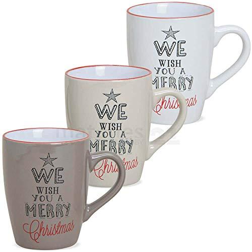 matches21 Tassen Kaffeetassen Weihnachtstassen Keramik Wish you Merry Christmas braun beige weiß 3er Set je 10 cm