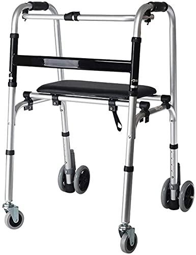 Rollator Walker Medical Walker para personas mayores y adultos Bariátrico Rollator Folding Rollator Walker con 4 ruedas para personas mayores, marco caminando ligero, ayuda de movilidad para discapaci
