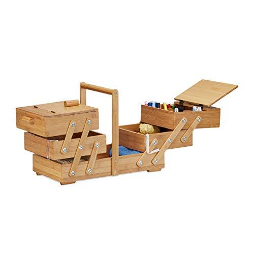 Relaxdays Caja de Costura Grande con Compartimentos, Bambú, Beige, 30 x 44 x 22 cm