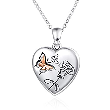 Butterfly Locket Necklace for Women,925 Sterling Silver Heart Lockets Necklace That Holds 2 Pictures Jewelry Thanksgiving Christmas Stocking Stuffers Gifts for Girlfriend Wife Daughter