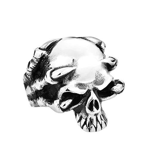 Amody Joyería Hombres anillosAnillo Punk para Hombre Cabeza de cráneo de Garra Gigante Plata Anillo de Acero Inoxidable para Hombre Tamaño 17
