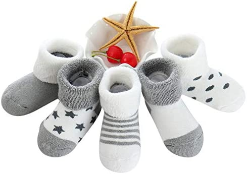 Cute Multi-Design 5-Pack Combo Cotton Short Socks for 18-36 Month Baby Boy and Girl Toddlers
