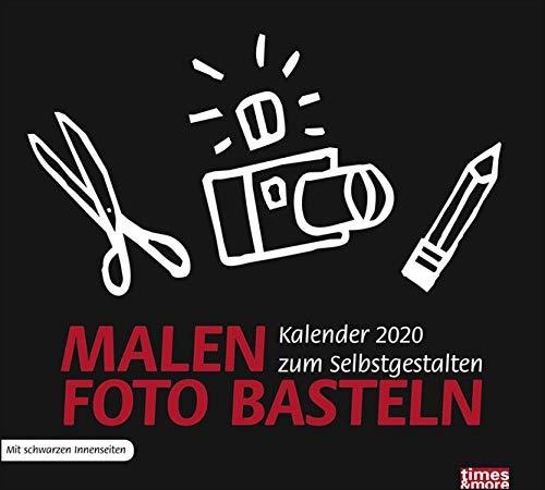 times&more Bastelkalender schwarz. Bastelkalender 2020. Monatskalendarium. Spiralbindung. Format 30 x 27 cm