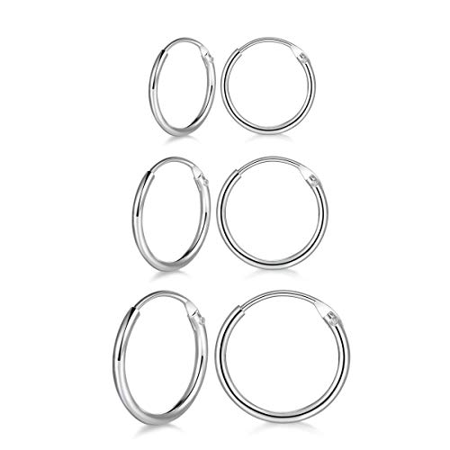 wynn's 3 Pairs 925 Sterling Silver Cartilage Small Endless Hoop Earrings Set Hypoallergenic Unisex Huggie Silver Hoop Sleeper Earrings Nose Lip Rings for Women Men Girls, 10mm 12mm 14mm